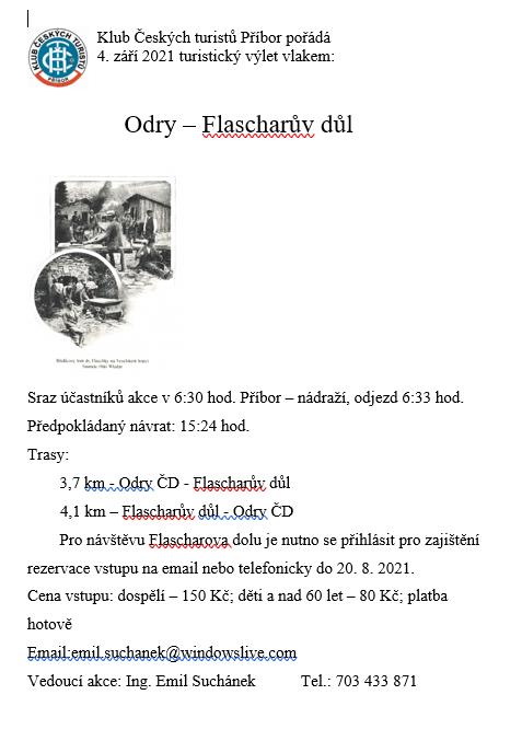 Turistický výlet Odry - Flascharův důl