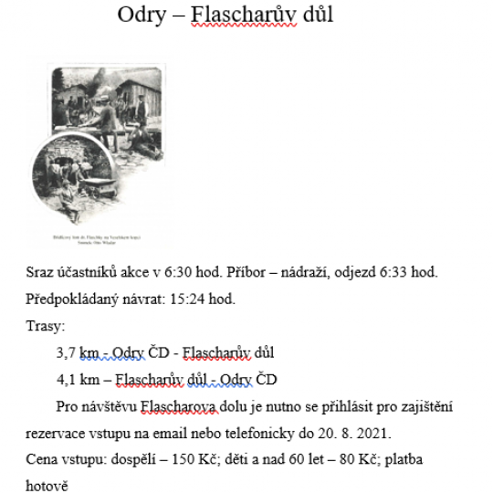 Turistický výlet Odry - Flascharův důl 1